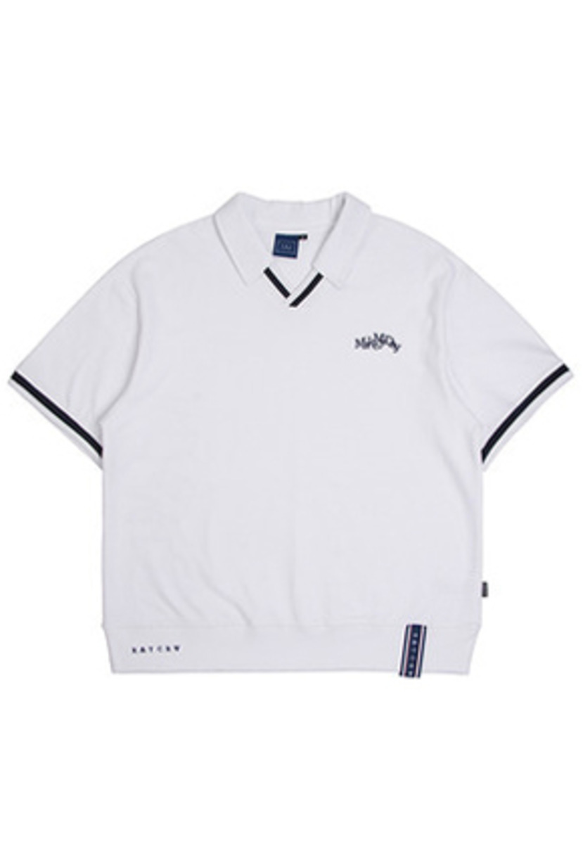 Romantic Crown로맨틱크라운 Neckline Band Collar T Shirt_White