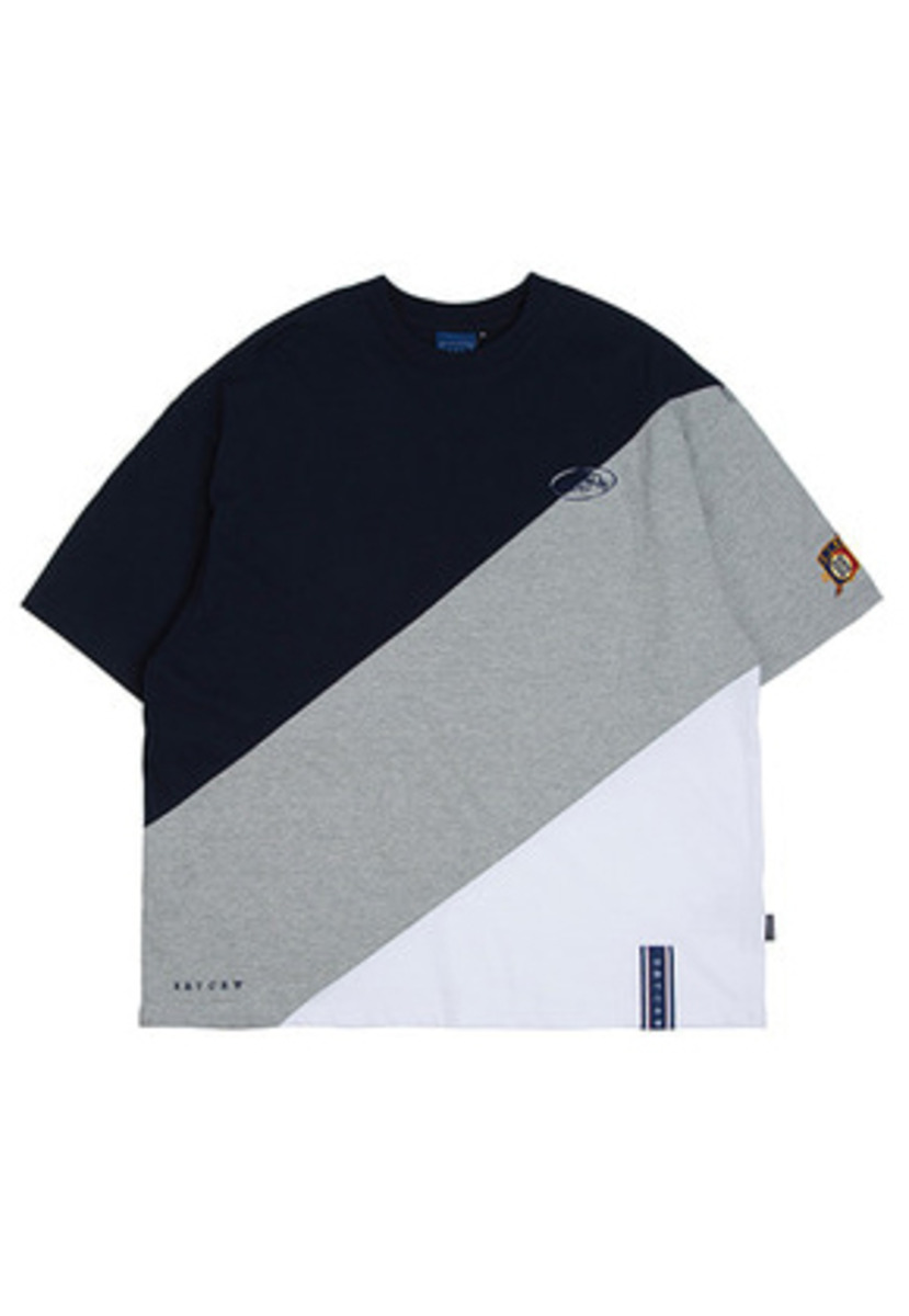 Romantic Crown로맨틱크라운 Division Color Block T Shirt_Grey