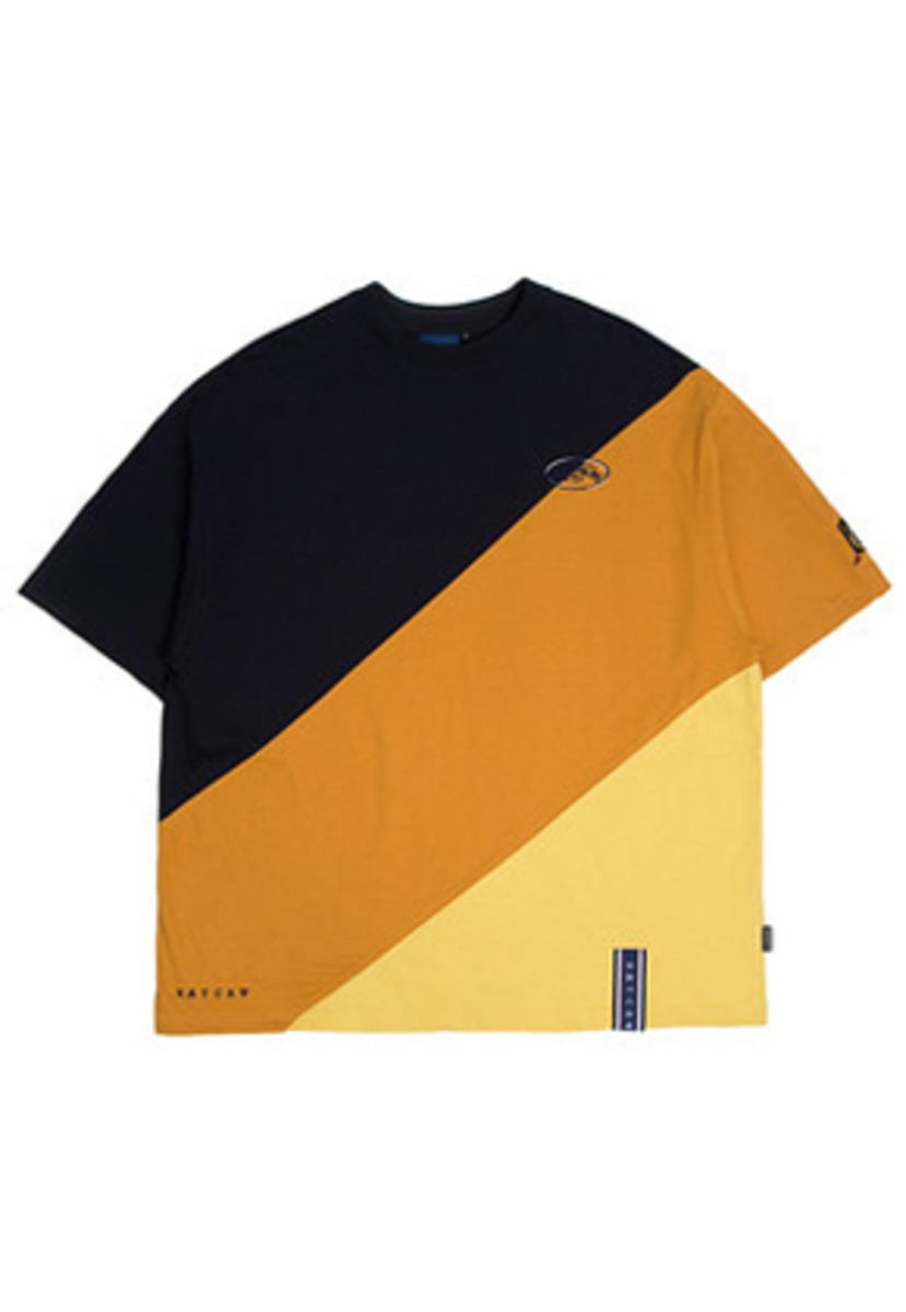 Romantic Crown로맨틱크라운 Division Color Block T Shirt_Mustard