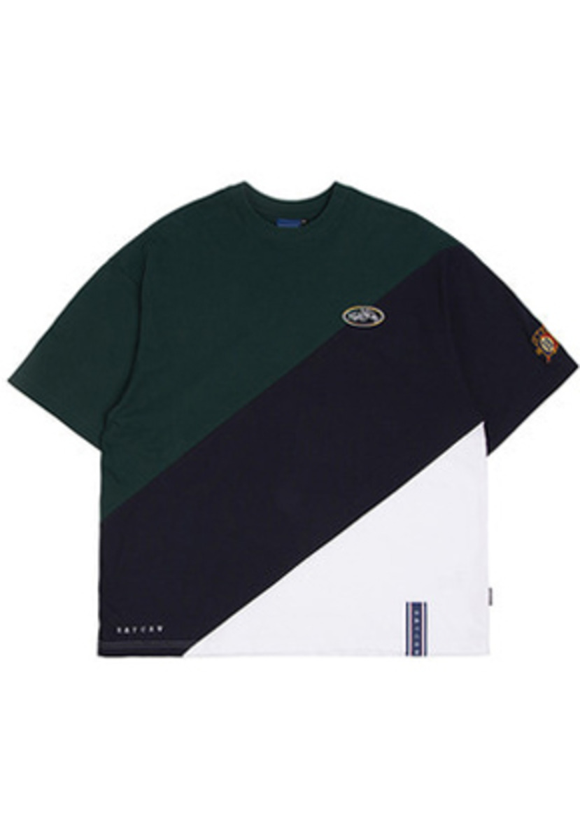 Romantic Crown로맨틱크라운 Division Color Block T Shirt_Navy