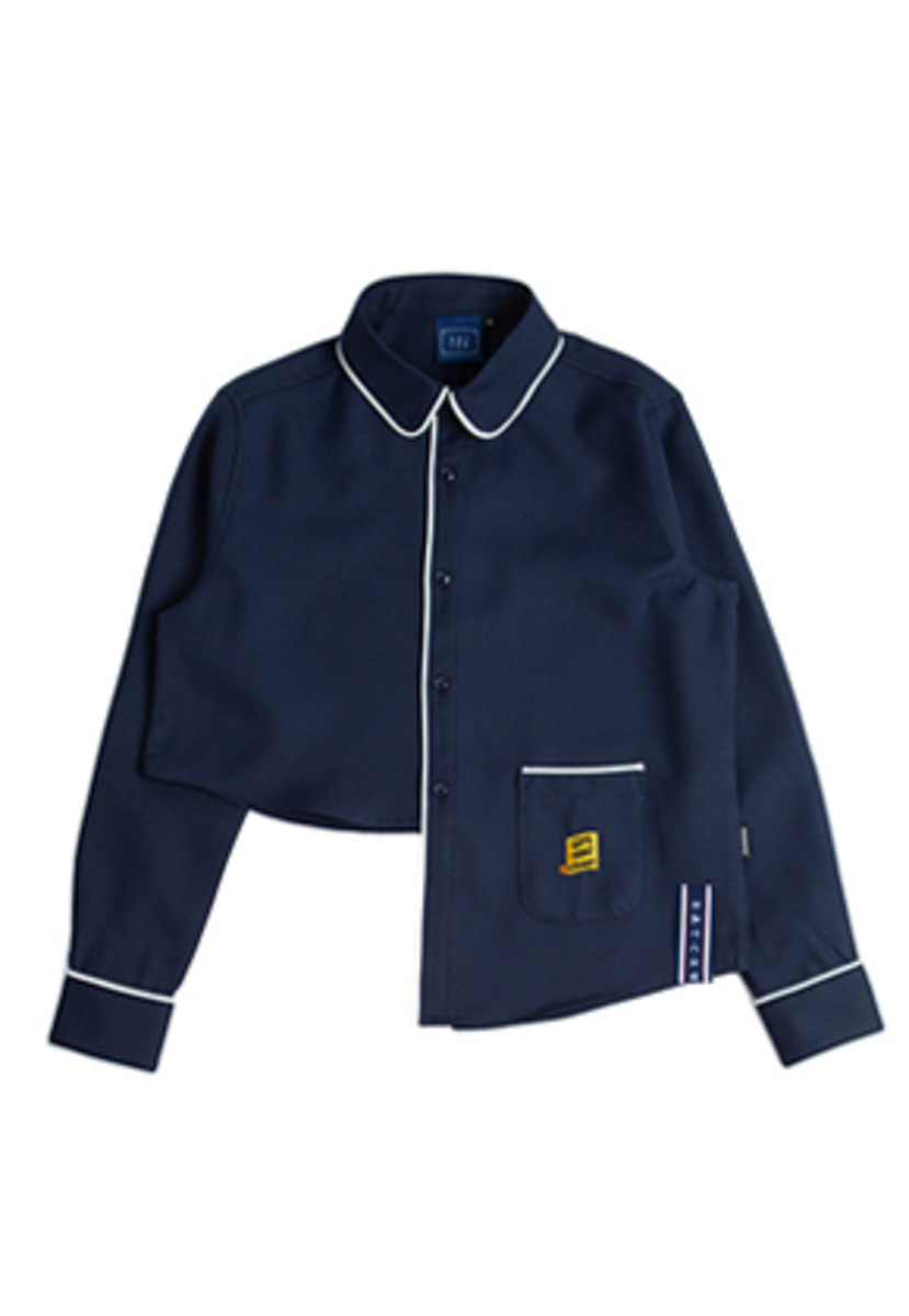 Romantic Crown로맨틱크라운 Unbalance Shirt_Navy
