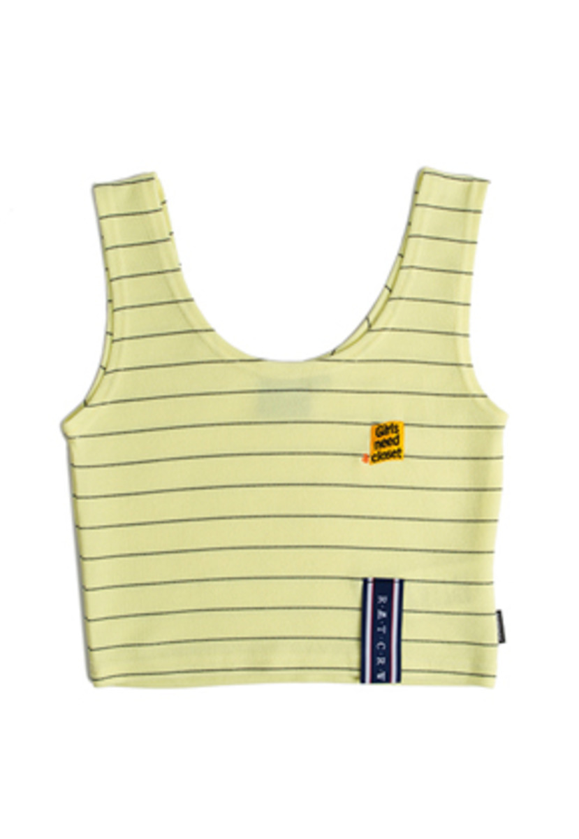 Romantic Crown로맨틱크라운 Stripe Knit Sleeveless_Yellow