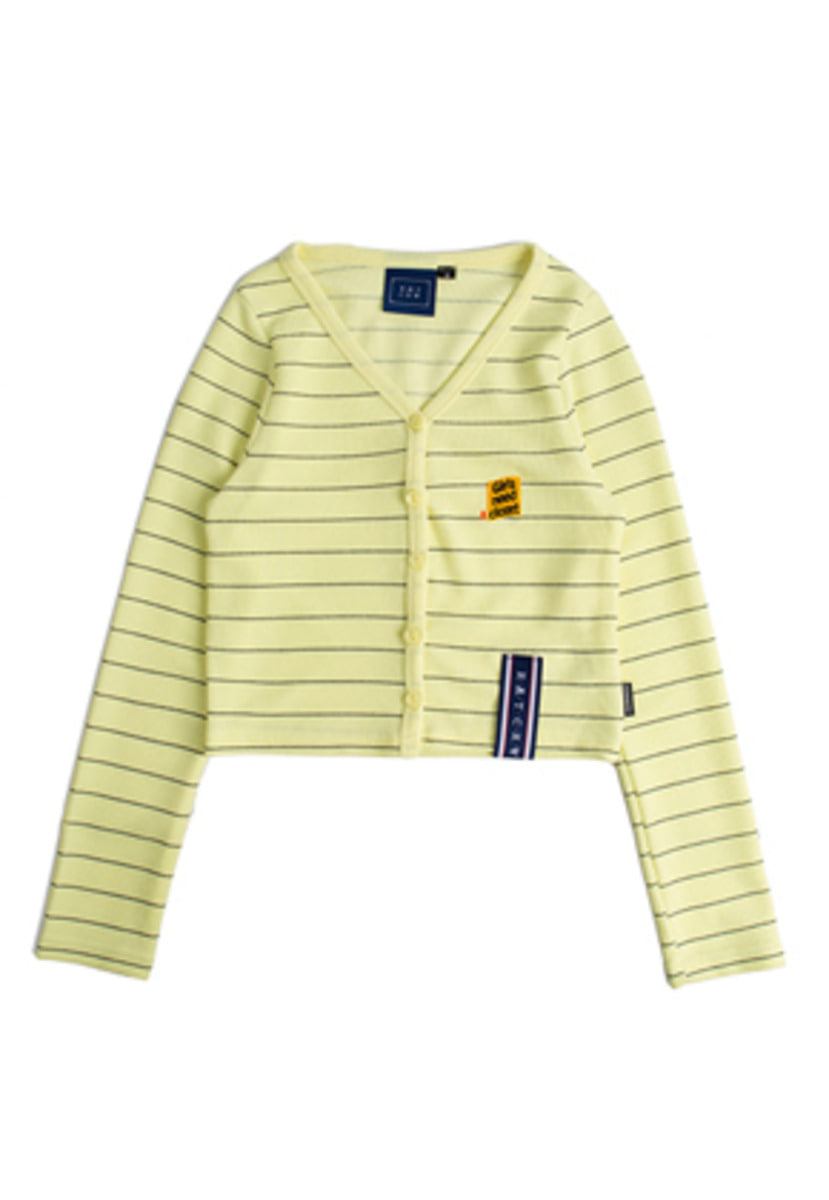 Romantic Crown로맨틱크라운 Stripe Knit Cardigan_Yellow