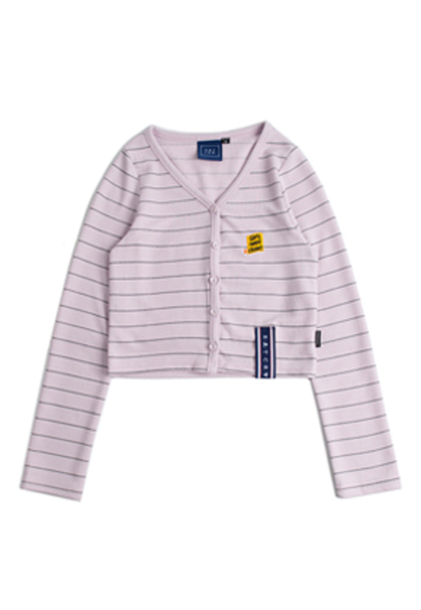 Romantic Crown로맨틱크라운 Stripe Knit Cardigan_Purple