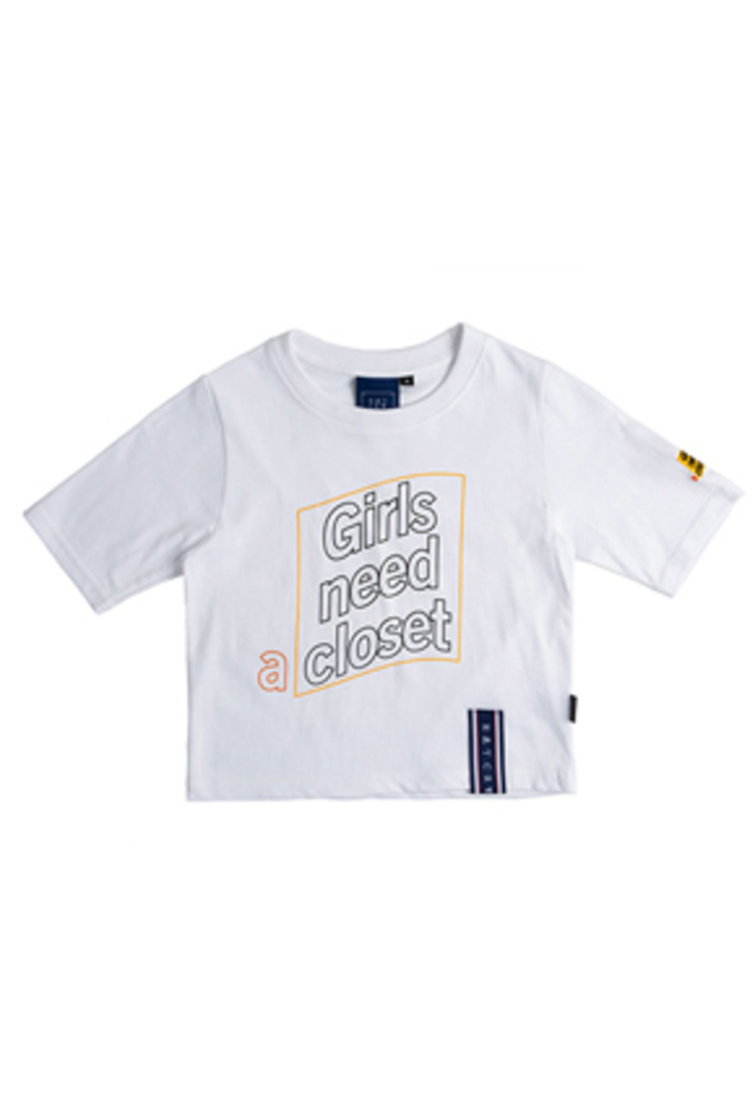 Romantic Crown로맨틱크라운 Post Logo Crop T Shirt_White