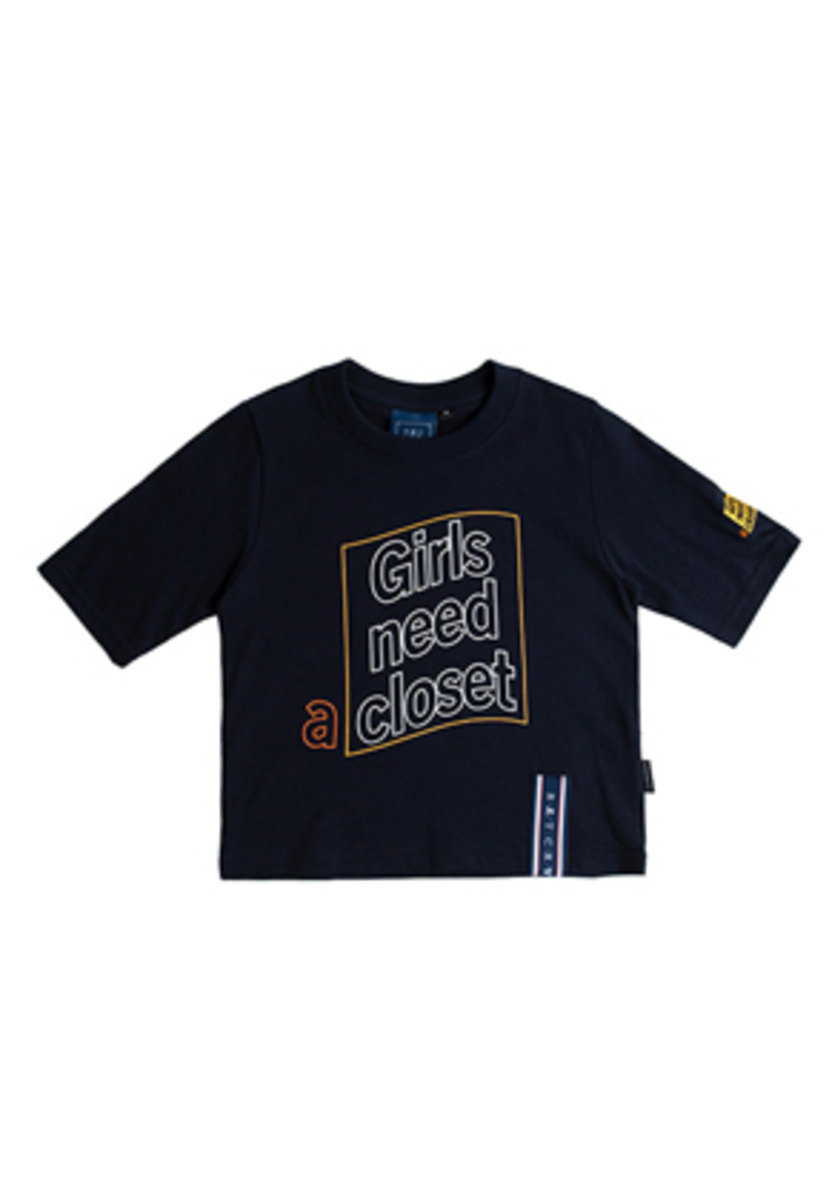 Romantic Crown로맨틱크라운 Post Logo Crop T Shirt_Navy