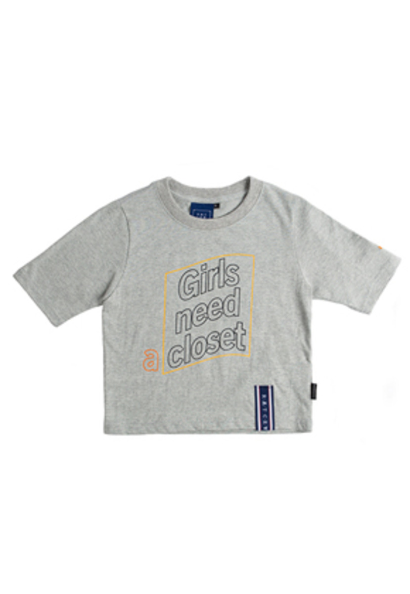 Romantic Crown로맨틱크라운 Post Logo Crop T Shirt_Grey
