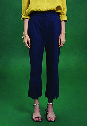 Deans딘스 [DEANS] SLIT BANDING SEMI WIDE PANTS_NAVY