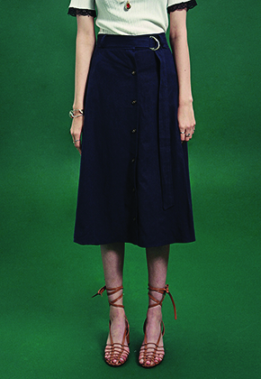 Deans딘스 [DEANS] BELT SET-UP FLARE LONG SKIRT_NAVY