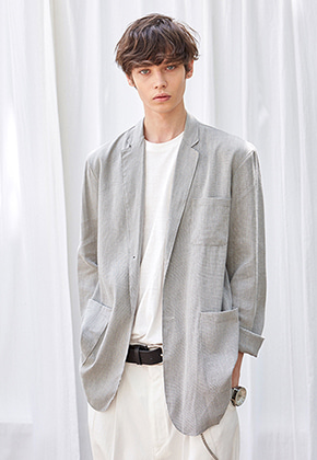 Yan13얀써틴 CH NOTCHED LAPEL SINGLE JACKET_GRAY