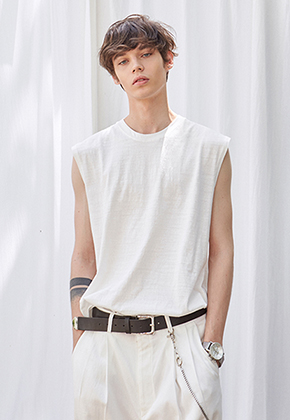 Yan13얀써틴 AIR SLUB SLEEVELESS_IVORY
