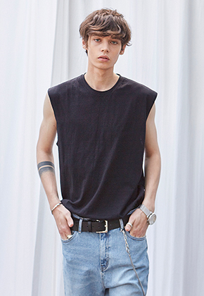 Yan13얀써틴 AIR SLUB SLEEVELESS_BLACK