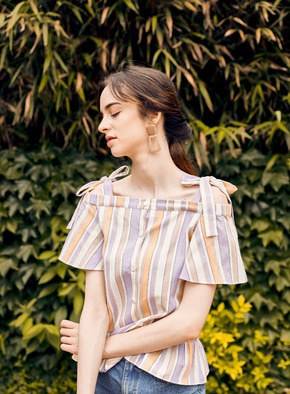 Mintaretro민타레트로 Hazel Stripe Off Shoulder Top