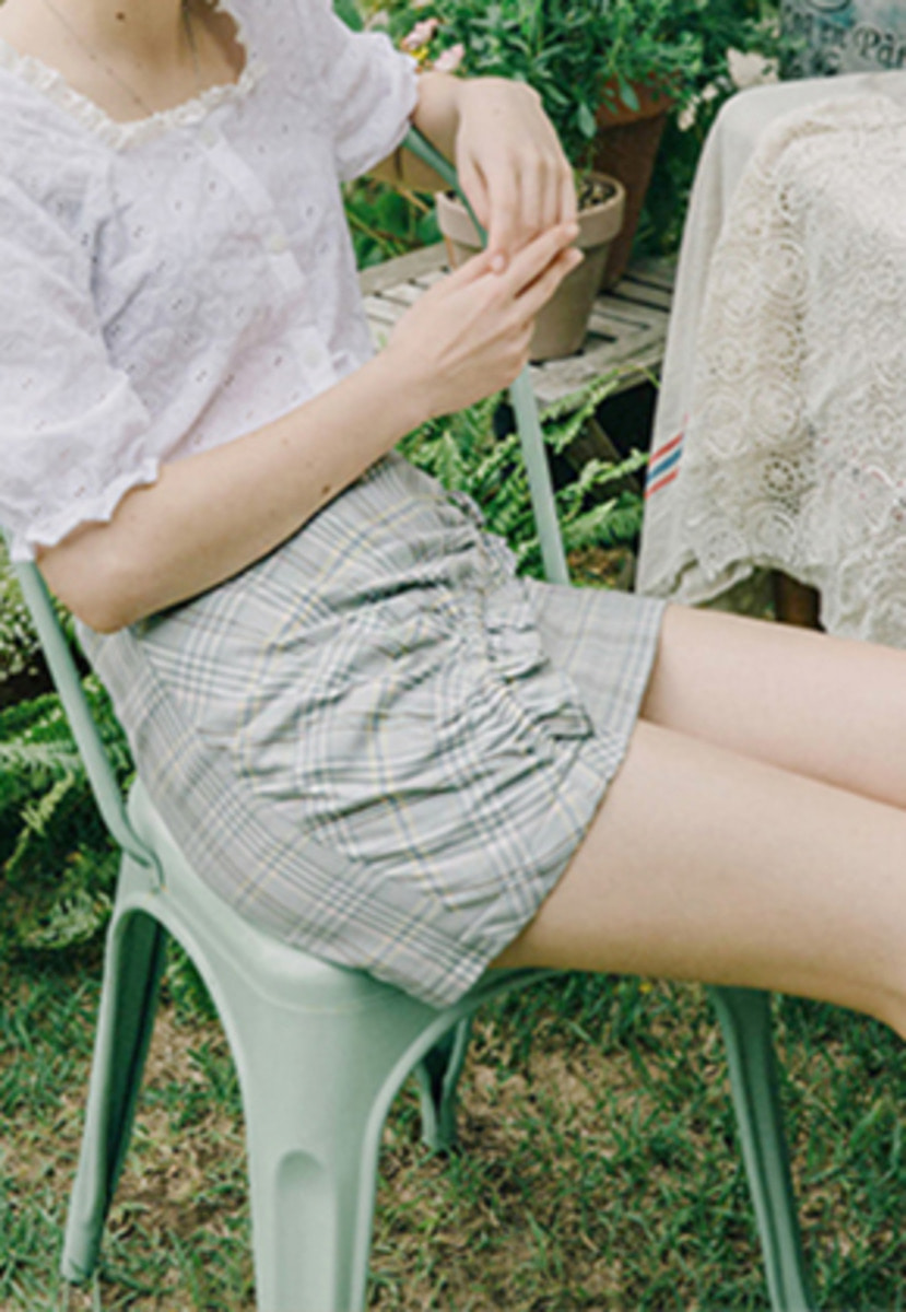 Margarin Fingers마가린핑거스 SHIRRING MINI SKIRT (LB)