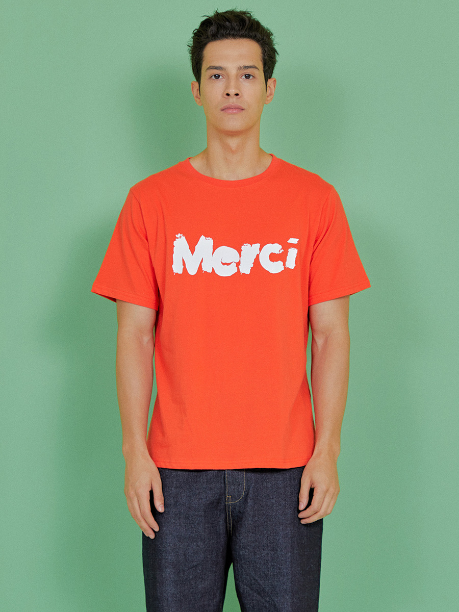INDIGO CHILDREN인디고칠드런 MERCI T-SHIRT [RED ORANGE]