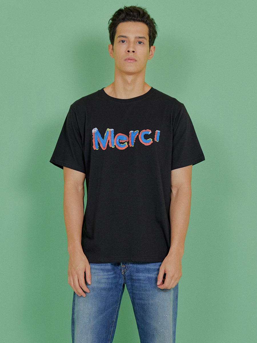 INDIGO CHILDREN인디고칠드런 MULTI MERCI T-SHIRT [BLACK]