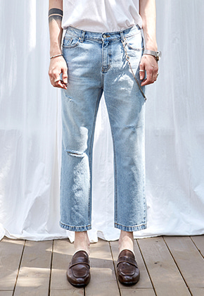 Yan13얀써틴 STANDARD CROP DENIM PANTS_DENIM