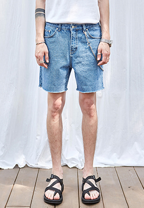 Yan13얀써틴 MARINE CUTTING DENIM SHORTS_DENIM