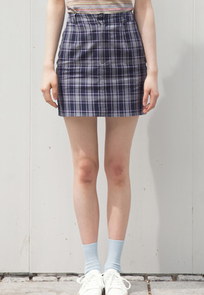 Sinoon시눈 sinoon check skirt (navy)