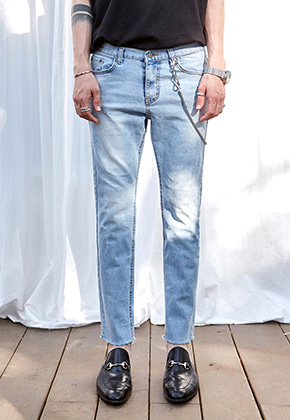 Yan13얀써틴 FADING SLIM STRAIGHT JEANS_DENIM