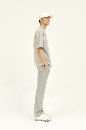 SEC세크 [Unisex] Back Check-Blocked T-Shirt _ Grey / Yellow and Grey Check