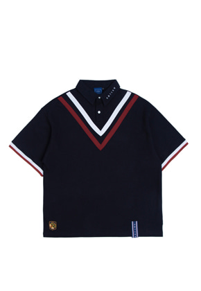 Romantic Crown로맨틱크라운 Chest Point Collar T Shirt_Navy