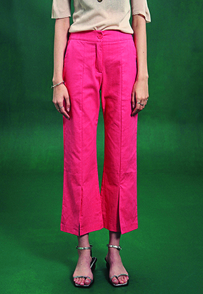 Deans딘스 [DEANS] SLIT BANDING SEMI WIDE PANTS_PINK