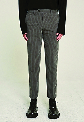 Deans딘스 [DEANS] TAPERED-FIT PIN ST SLACKS_GRAY