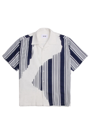 XYZ UNISEX STRIPED PATCH SHIRTS - NAVY