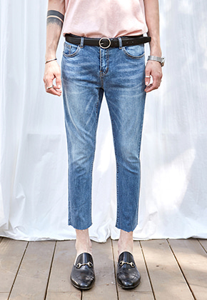 Yan13얀써틴 DEEP WASHING SLIM STRAIGHT JEAN_DENIM