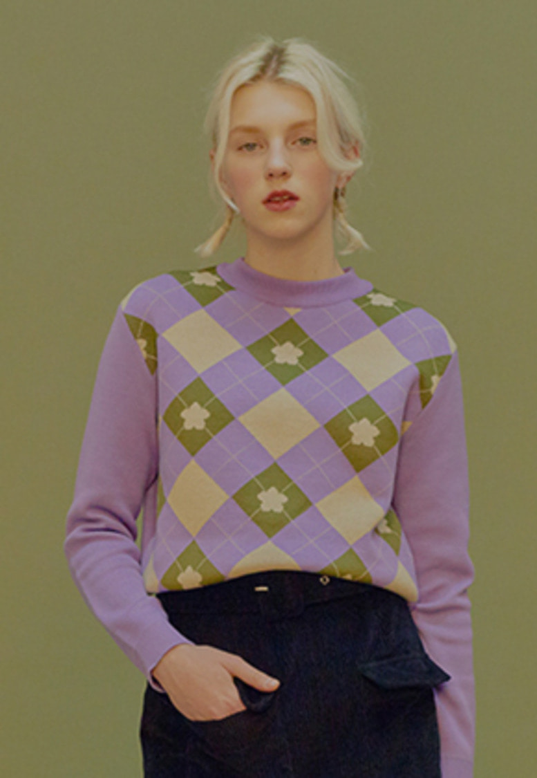 Margarin Fingers마가린핑거스 FLOWER ARGYLE KNIT (LAVENDER)