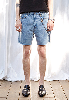Yan13얀써틴 MIDDLE LINE DENIM SHORTS_DENIM