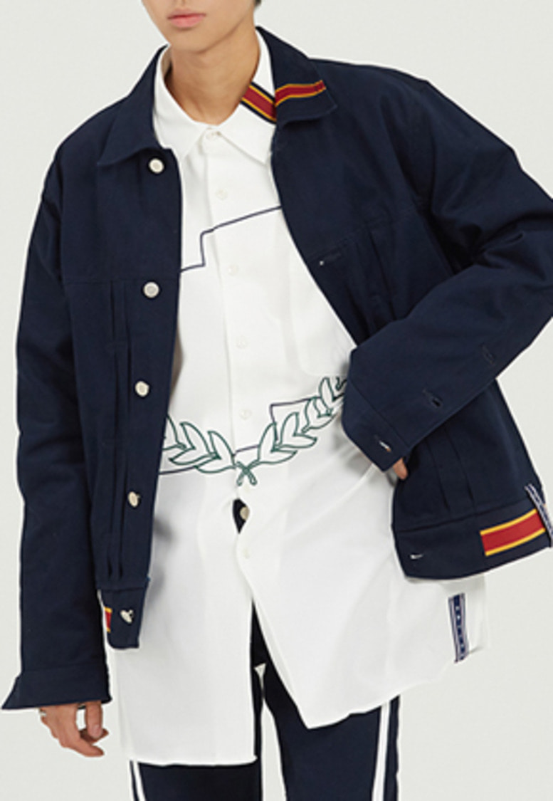 Romantic Crown로맨틱크라운 Color Tape Trucker Jacket_Navy