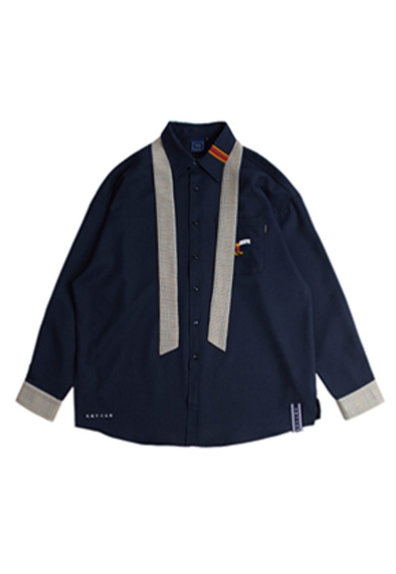 Romantic Crown로맨틱크라운 Cuffs Tie Shirt_Navy
