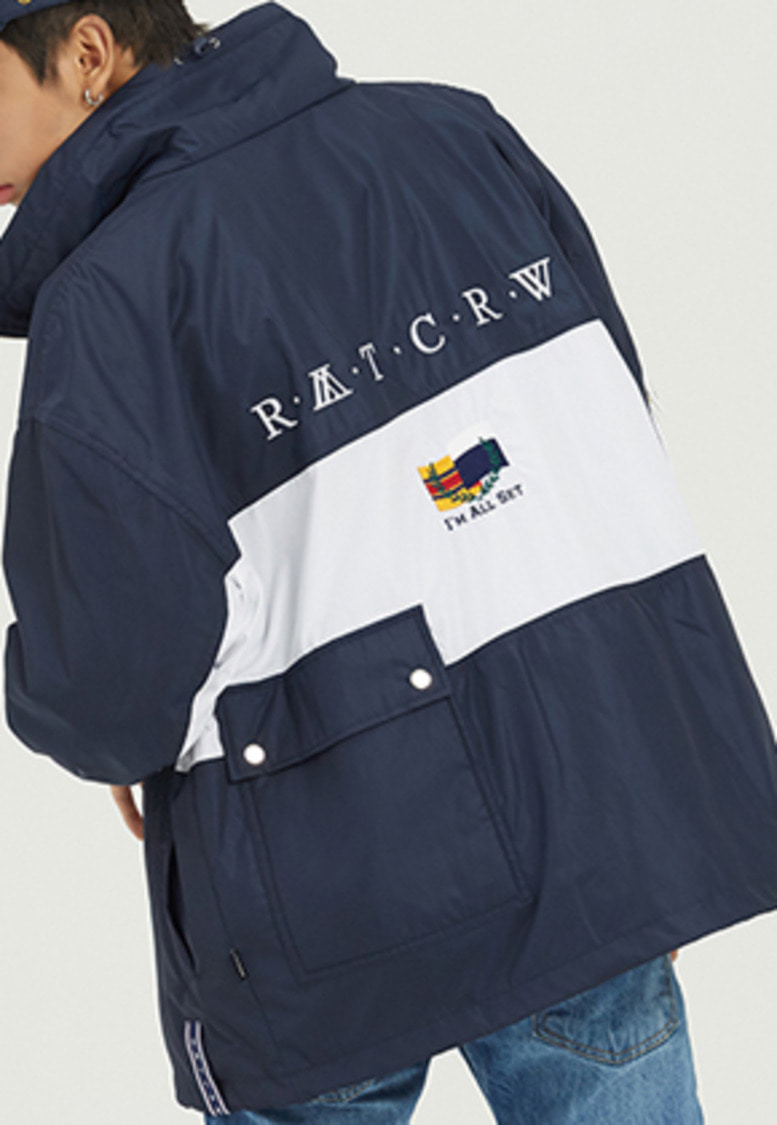 Romantic Crown로맨틱크라운 Drawfit Racing Jacket_Navy