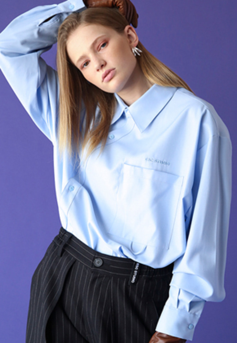 ESC Studio이에스씨스튜디오 Oblique shirt (skyblue)