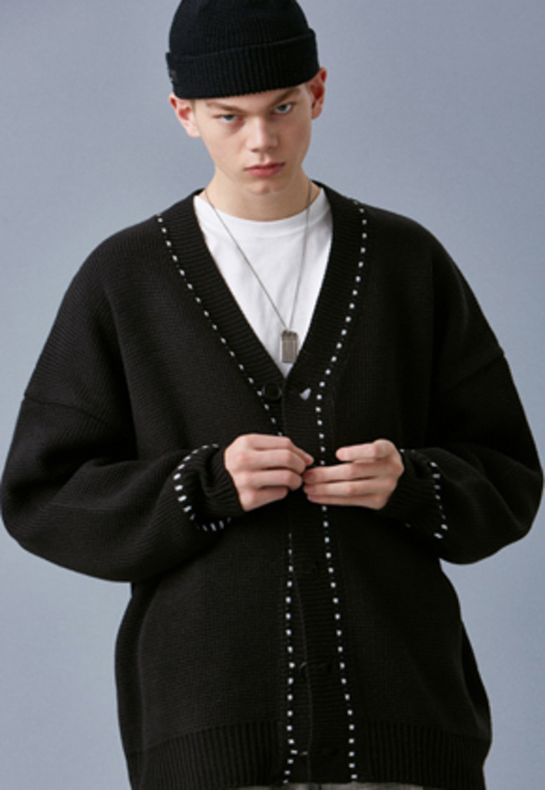 Voiebit브아빗 V546 STITCH OVERSIZE KNIT CARDIGAN  BLACK
