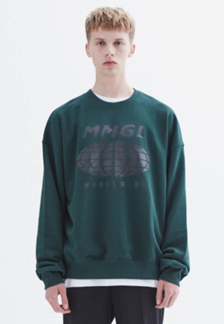 MMGL미니멀가먼츠랩 Worldwide oversized sweatshirt (Dark-green)