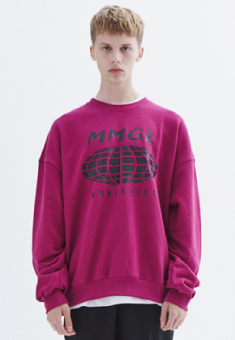 MMGL미니멀가먼츠랩 Worldwide oversized sweatshirt (Purple-wine)
