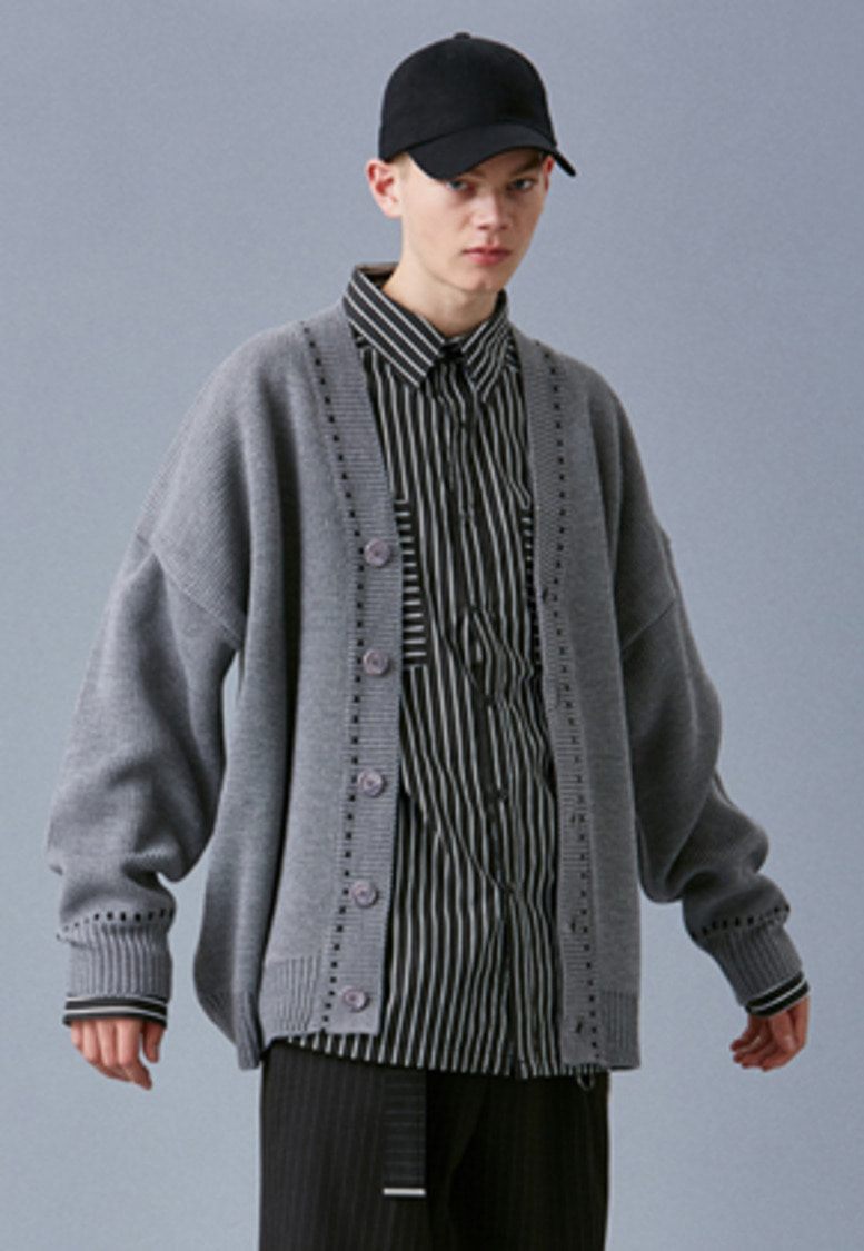 Voiebit브아빗 V546 STITCH OVERSIZE KNIT CARDIGAN  GRAY
