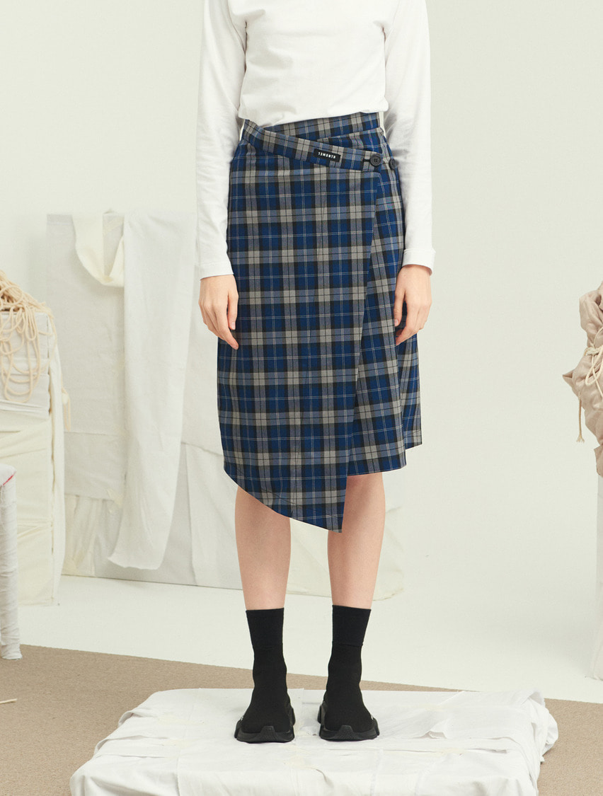 13Month써틴먼스 CHECK MIDI WRAP SKIRT (BLUE)
