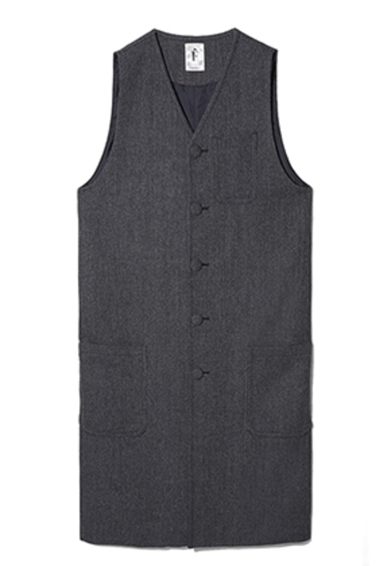 Etre에트르 HERRINGBONE LONG VEST