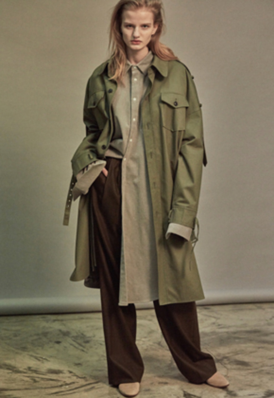 NOHANT노앙 OVERSIZED SHIRT TRENCH COAT KHAKI