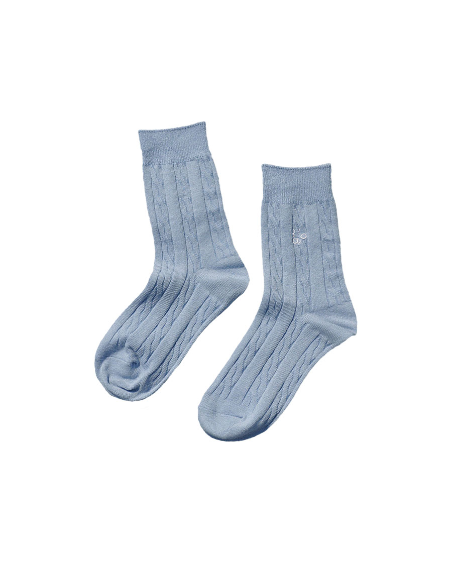 THREE TO EIGHTY쓰리투에이티 Linen Cable Knit Socks - Sky blue