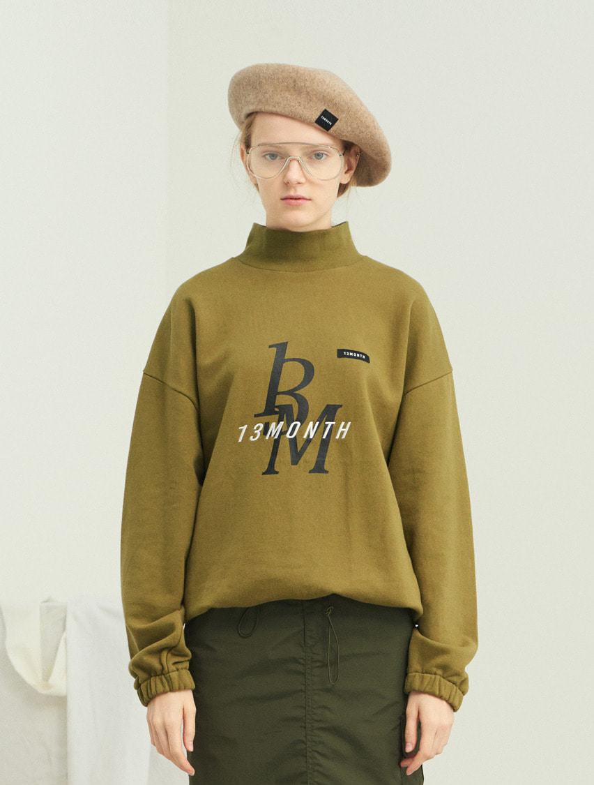 13Month써틴먼스 TURTLENECK WAIST STRING SWEAT SHIRT (KHAKI)