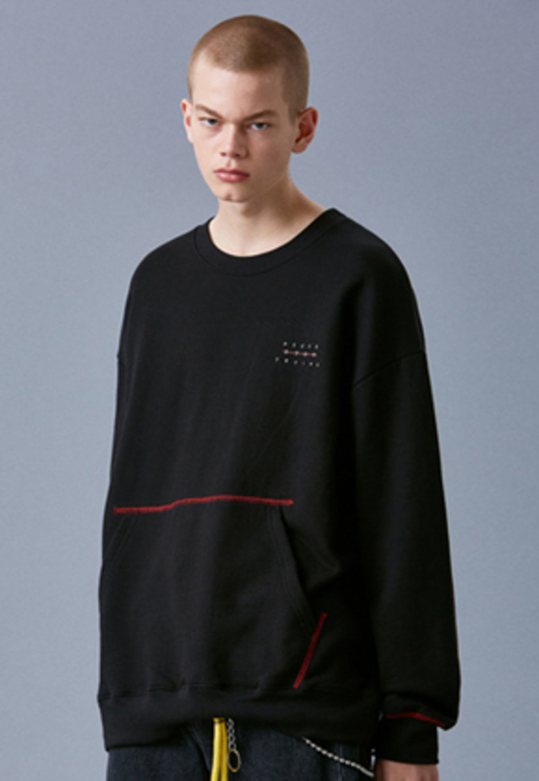 Voiebit브아빗 V342 POCKET STITCH SWEATSHIRT  BLACK