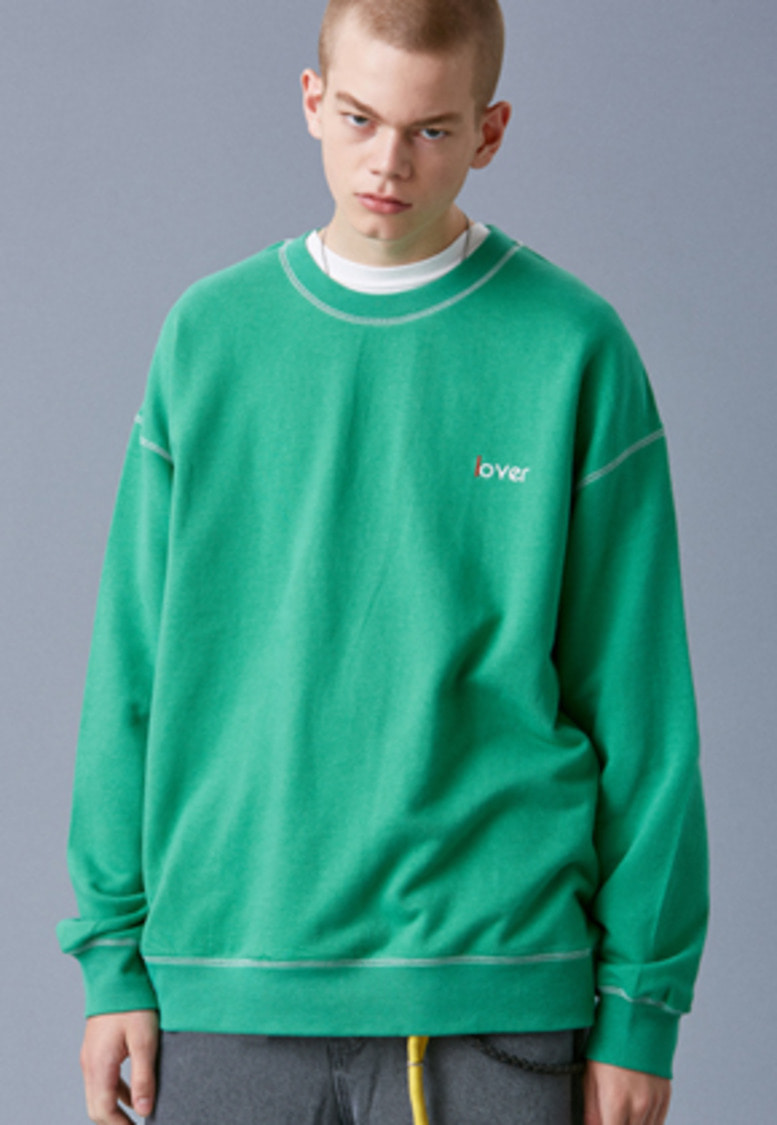 Voiebit브아빗 V340 LOVER STITCH SWEATSHIRT  GREEN