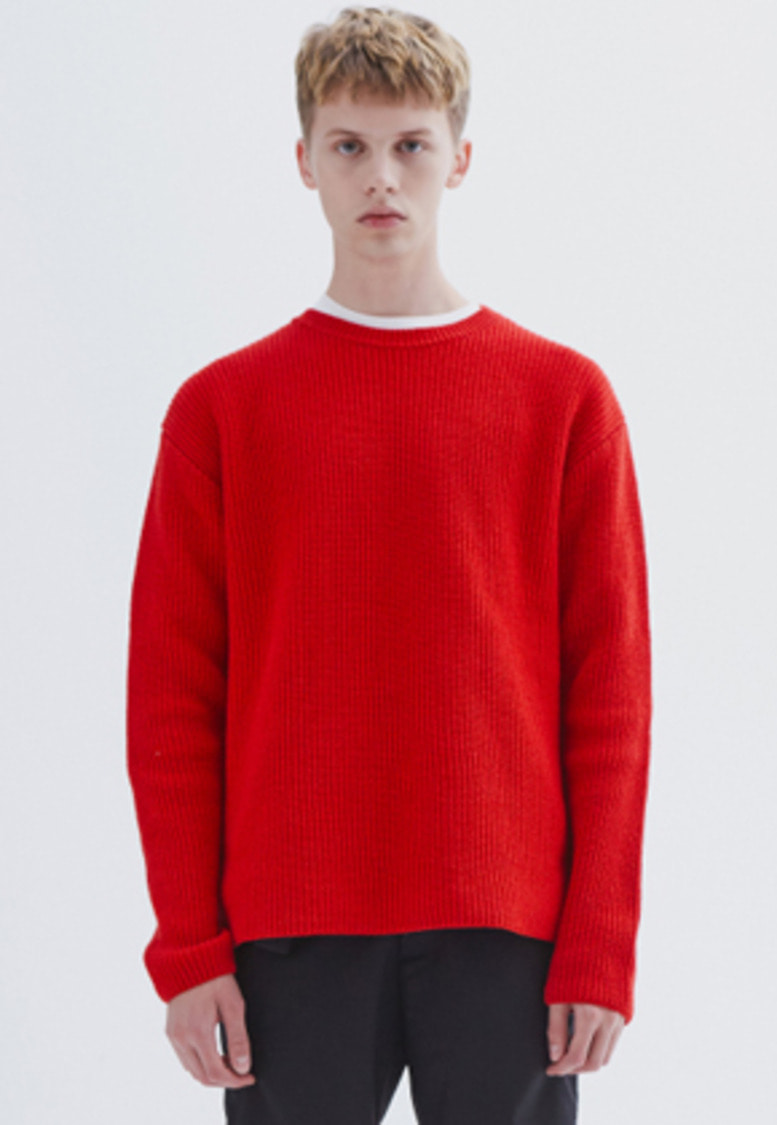 MMGL미니멀가먼츠랩 Ribbed sweater (Red)