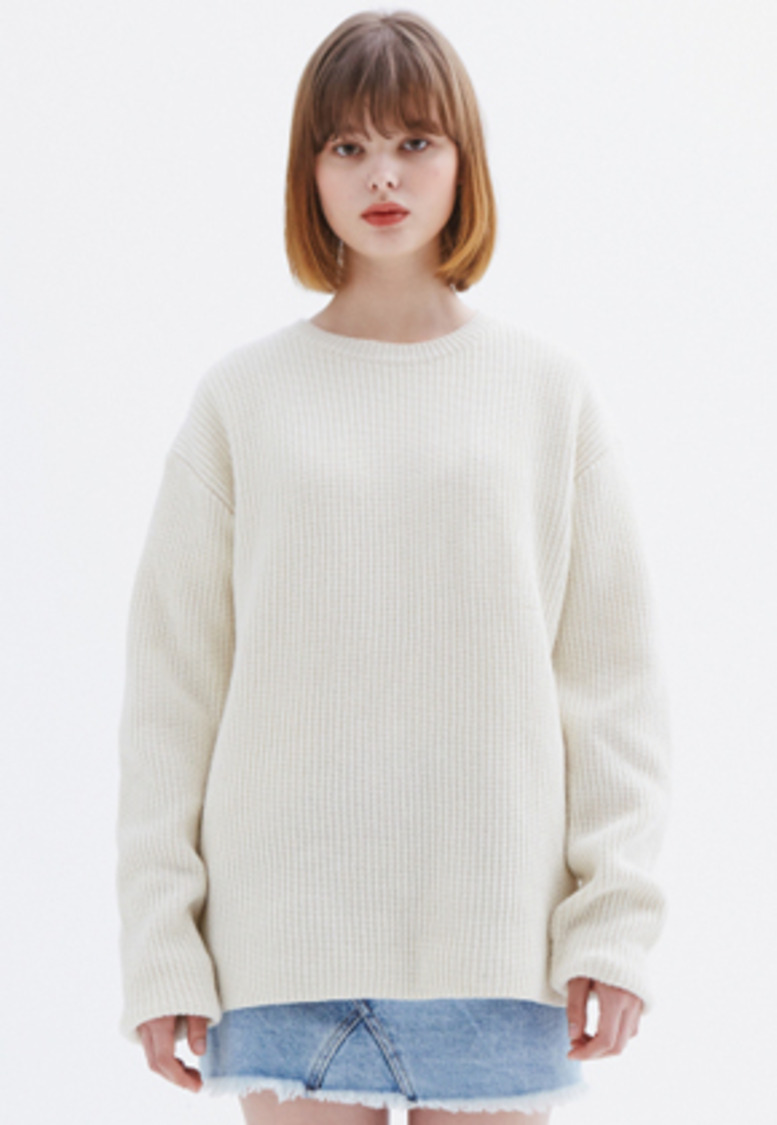 MMGL미니멀가먼츠랩 Ribbed sweater (Ivory)