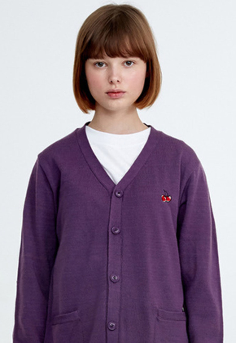 KIRSH키르시 [당일배송] CHERRY KNIT CARDIGAN HA [PURPLE]